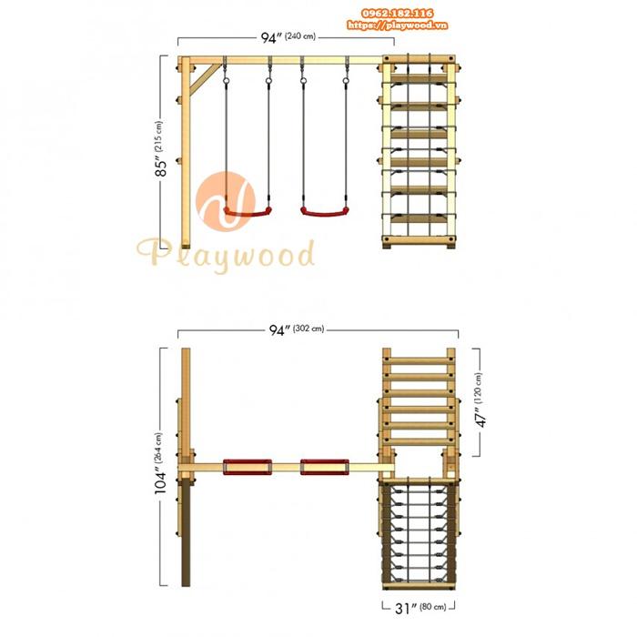 Xích đu gỗ cho bé 2 chỗ kèm thang leo dây PW-2305-2