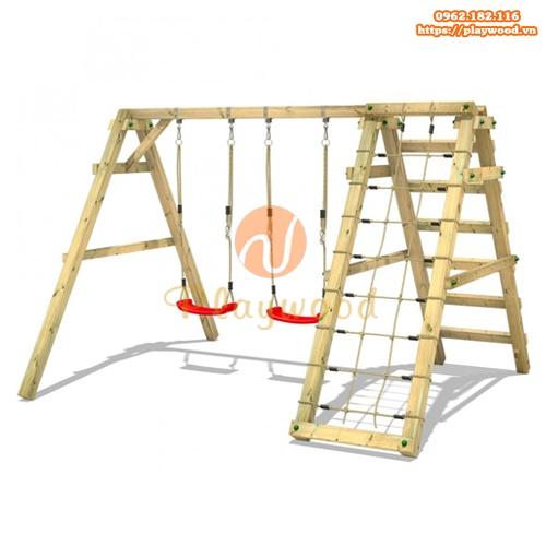 Xích đu gỗ cho bé 2 chỗ kèm thang leo dây PW-2305