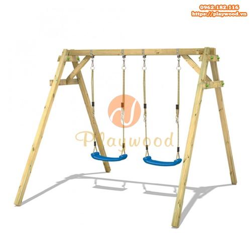 Xích đu gỗ ghế đôi cho bé mầm non PW-2301