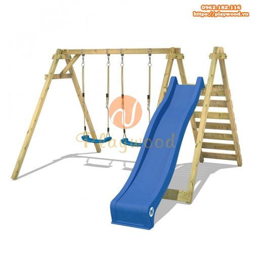 Xích đu gỗ trẻ em 2 chỗ kèm cầu trượt PW-2307-1