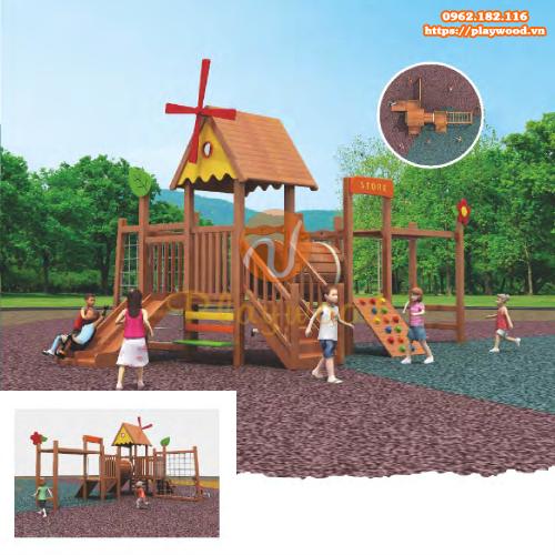 5 mẫu cầu trượt liên hoàn gỗ ngoài trời 3 khối cho bé hot nhất 2020-4