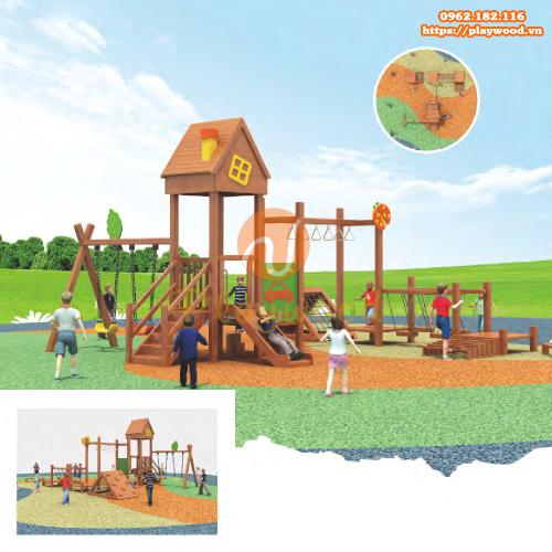 5 mẫu cầu trượt liên hoàn gỗ ngoài trời 3 khối cho bé hot nhất 2020-5