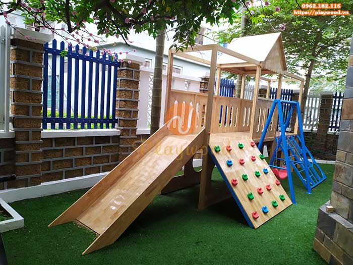Cầu trượt liên hoàn gỗ ngoài trời cho bé mầm non có bền không-1