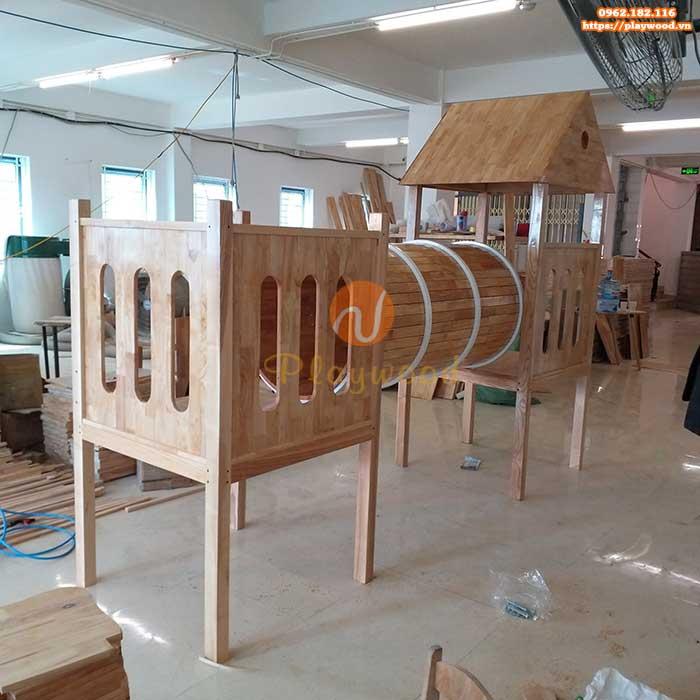 Cầu trượt liên hoàn gỗ ngoài trời cho bé mầm non có bền không-2
