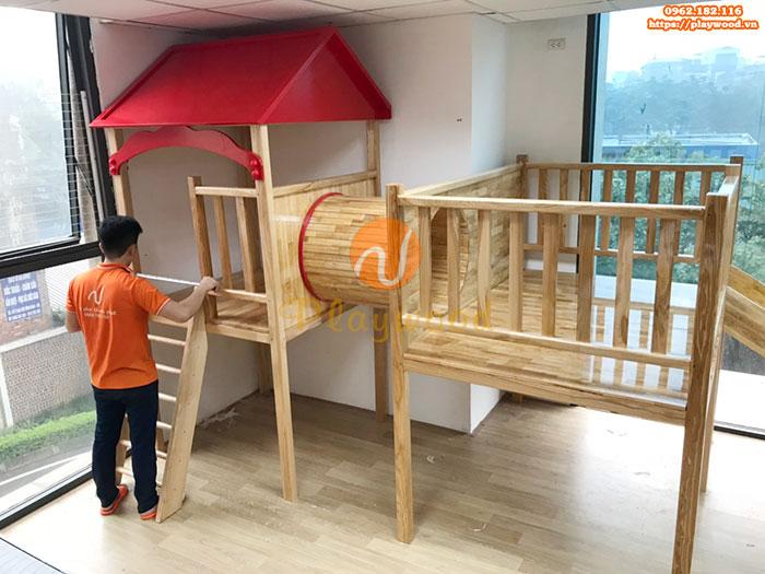 Sản xuất lắp đặt cầu trượt liên hoàn gỗ cho trường mầm non tư thục tại Hà Nội-11