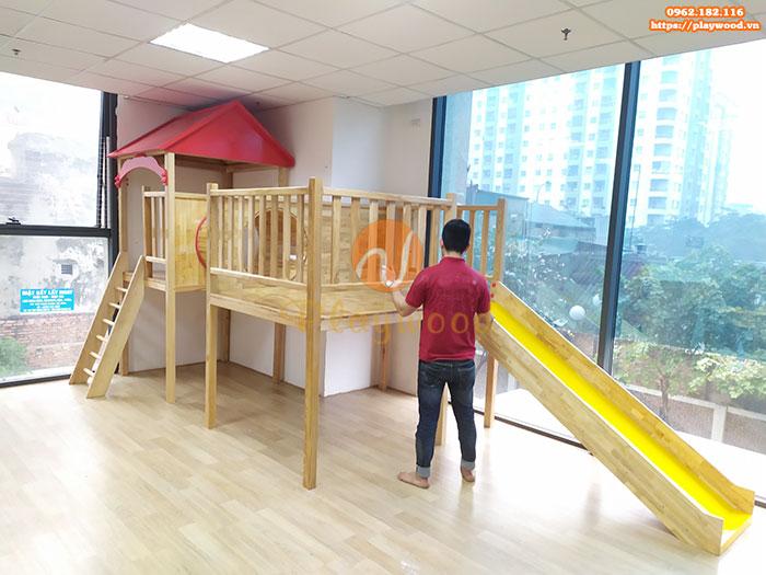 Sản xuất lắp đặt cầu trượt liên hoàn gỗ cho trường mầm non tư thục tại Hà Nội-12
