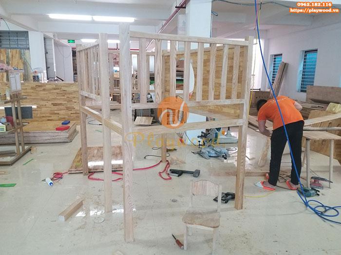 Sản xuất lắp đặt cầu trượt liên hoàn gỗ cho trường mầm non tư thục tại Hà Nội-3