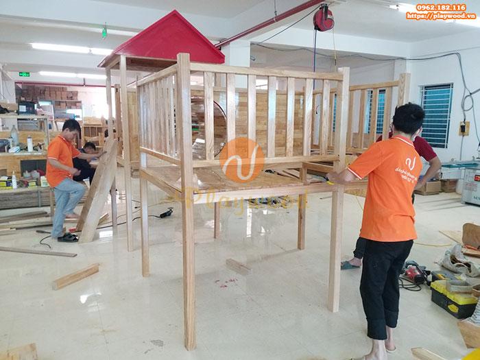 Sản xuất lắp đặt cầu trượt liên hoàn gỗ cho trường mầm non tư thục tại Hà Nội-5