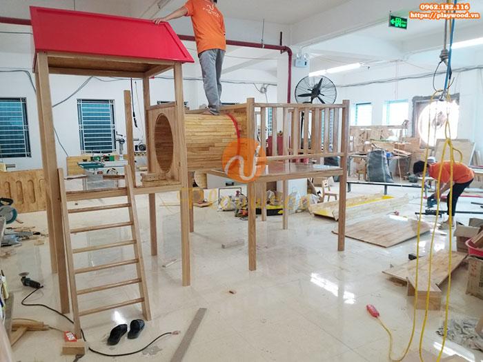 Sản xuất lắp đặt cầu trượt liên hoàn gỗ cho trường mầm non tư thục tại Hà Nội-6