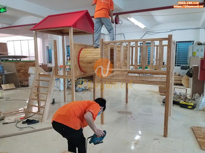 Sản xuất lắp đặt cầu trượt liên hoàn gỗ cho trường mầm non tư thục tại Hà Nội-7