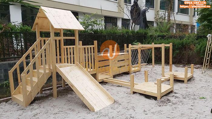 Tư vấn mua cầu trượt liên hoàn gỗ ngoài trời cho khu đô thị, chung cư-1