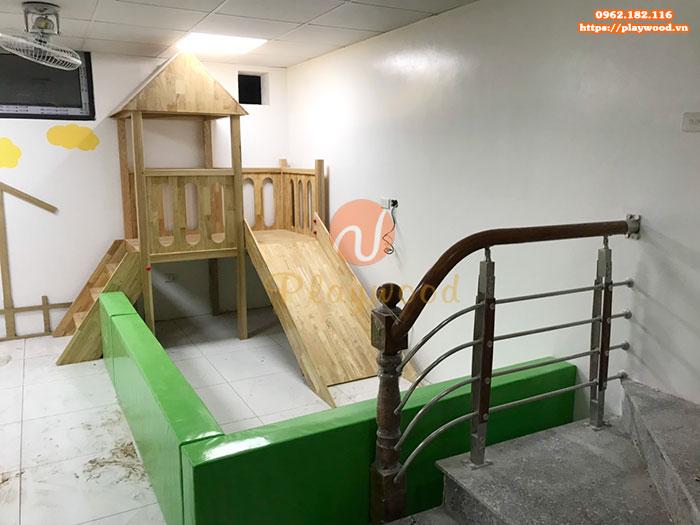 Tư vấn mua cầu trượt liên hoàn gỗ trong nhà cho trường mầm non-1