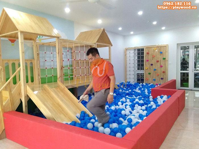 Tư vấn mua cầu trượt liên hoàn gỗ trong nhà cho trường mầm non-2