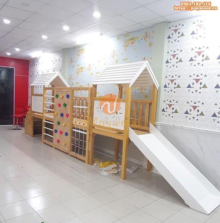 Tư vấn mua cầu trượt liên hoàn gỗ cho khu vui chơi trẻ em trong nhà