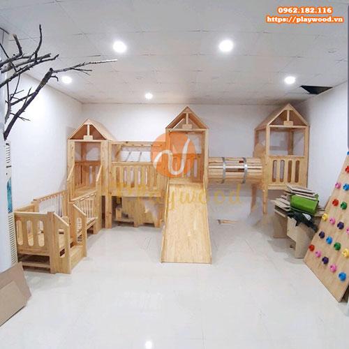 5 mẫu cầu trượt liên hoàn gỗ phù hợp cho trường mầm non tư thục-6