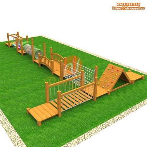 Những mẫu bộ vận động liên hoàn gỗ ngoài trời cho trường mầm non