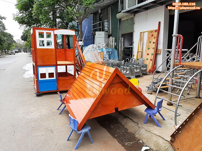 Sản xuất và bàn giao bộ Cầu trượt nhà khối liên hoàn kèm xích đu gỗ cho khách hàng tại Biên Hòa