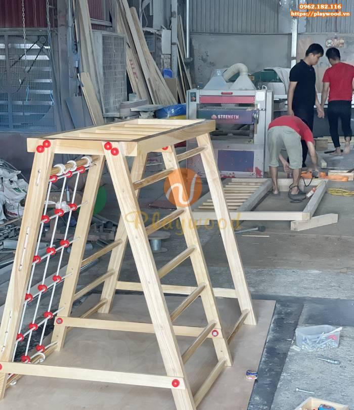 Lắp đặt cầu trượt thang leo đa năng gỗ cho bé tại nhà