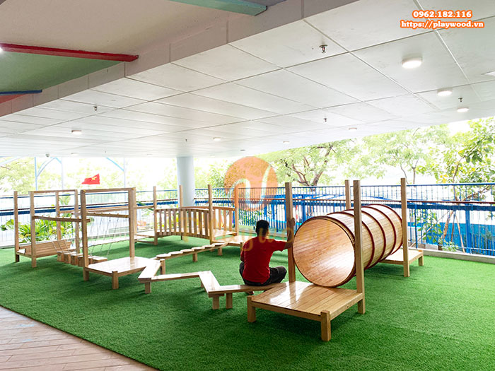 Công trình lắp đặt bộ vận động gỗ liên hoàn cho trường mầm non đa trí tuệ tại Hà Nội